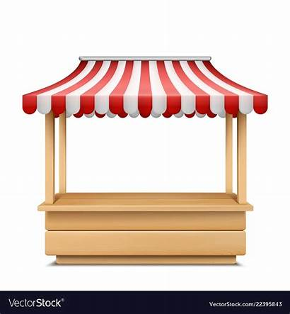 Stall Market Empty Awning Vector Striped Clip