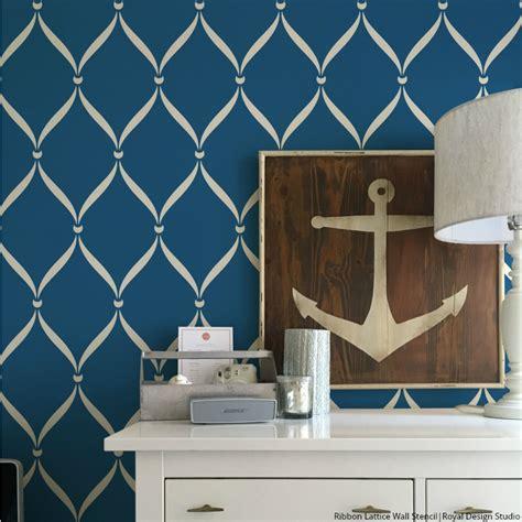 bathroom wall paint ideas ribbon lattice wall stencils for decorating home decor