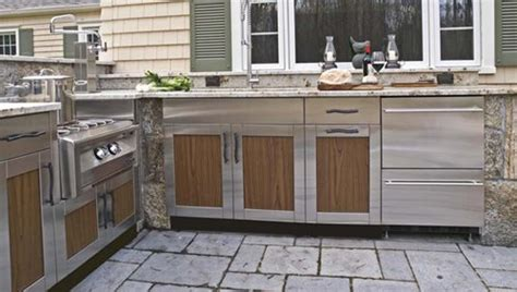 outdoor kitchen stainless steel cabinet doors outdoor kitchen cabinets landscaping network 9024