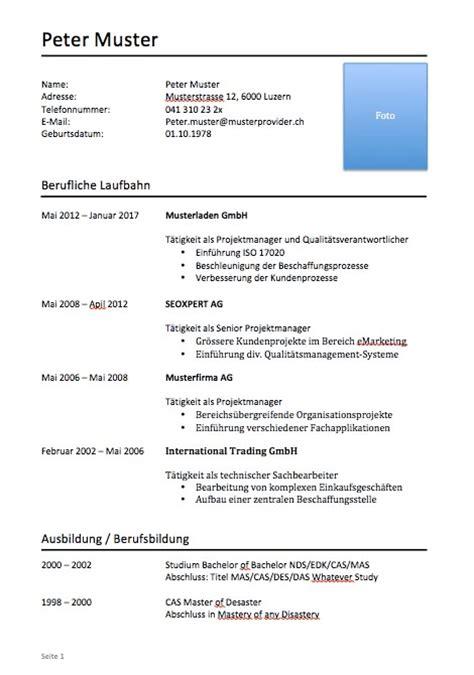 lebenslauf muster vorlagen schweiz word format