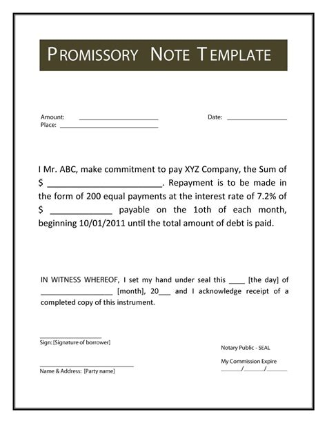 Free Promissory Note Template 45 Free Promissory Note Templates Forms Word Pdf