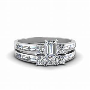 Emerald cut diamond channel baguette and princess accent for Emerald cut diamond wedding ring sets