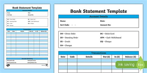 bank statement template bank statement template cfe everyday maths real maths