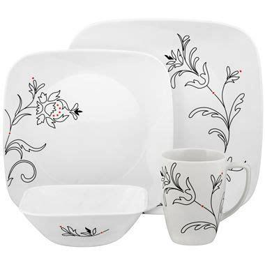 corelle  pc square royal lines dinnerware set