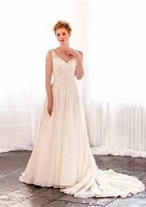 v neck sleeveless ivory chiffon long tail elegant a line With v neck a line wedding dress