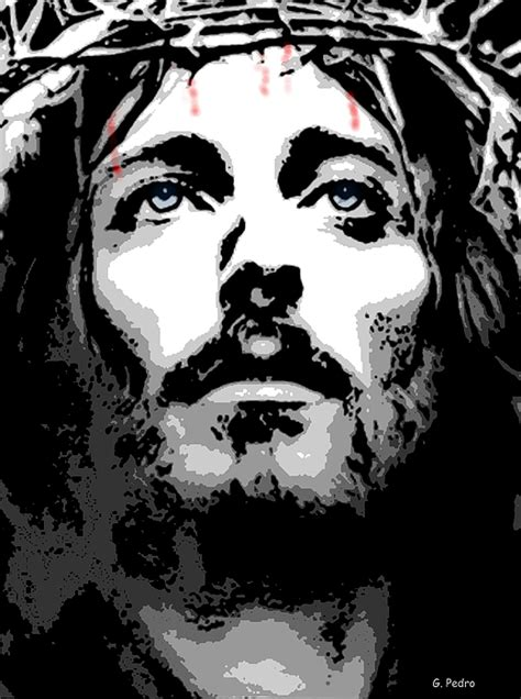 Abstract Jesus Black And White by Crown Of Thorns Digital By George Pedro