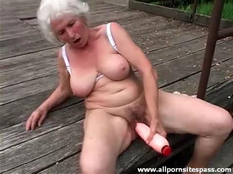 Huge Dildo Sex Outdoors With Curvy Grandma Granny Porn