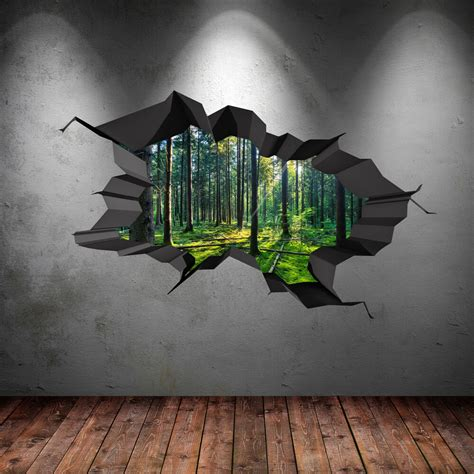 Wall 3d by Colour Woods Forest Trees Jungle Cracked 3d Wall