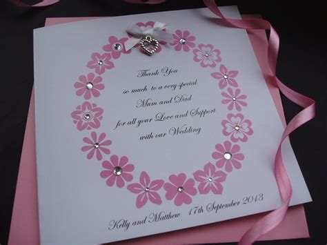 parents floral ring card handmade cards pink
