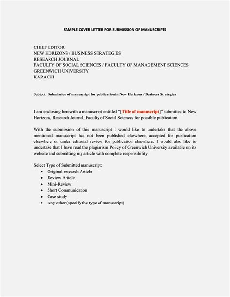 cover letter submit paper  journal