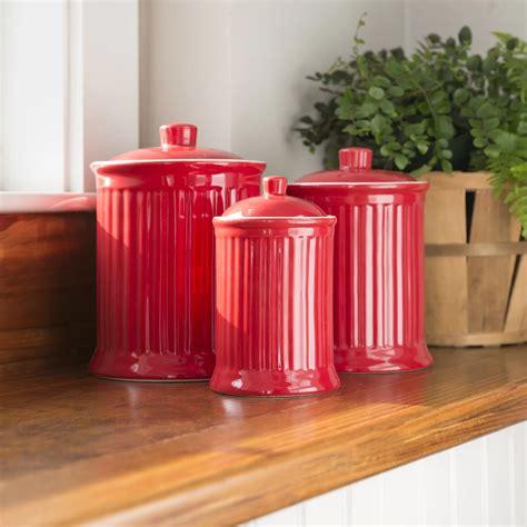 Shop for ceramic canister sets at walmart.com. Nicolette Red Ceramic Kitchen Canister,Set of 3 - Mocome