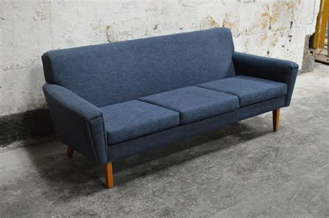 Swedish Mid-century Modern Blue Sofa At 1stdibs
