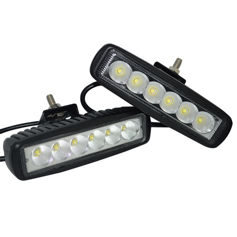 2pcs black housing spot offroad 18w led road work l