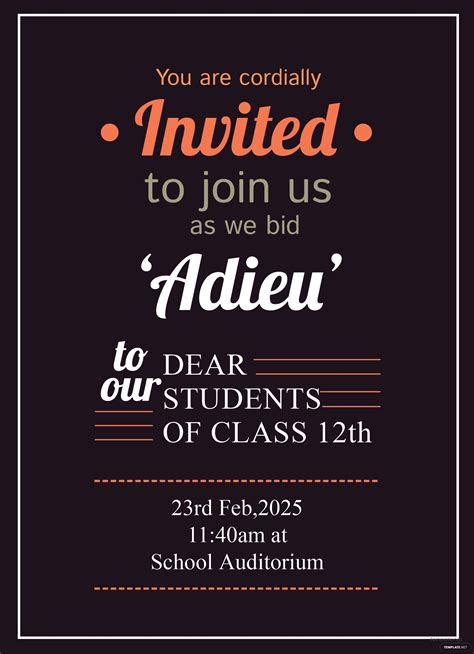 school farewell party invitation template  adobe