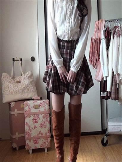 Lisa Liz Skirt Plaid Carry Knee Boots