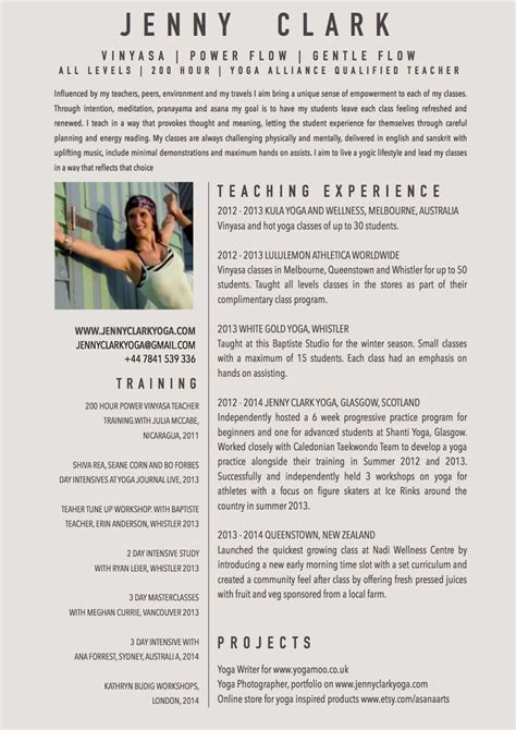yoga teacher resume sample yoga pinterest
