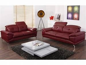 Canapé Cuir Rouge : canap en cuir de buffle coloris rouge ou noir kennedy ~ Teatrodelosmanantiales.com Idées de Décoration