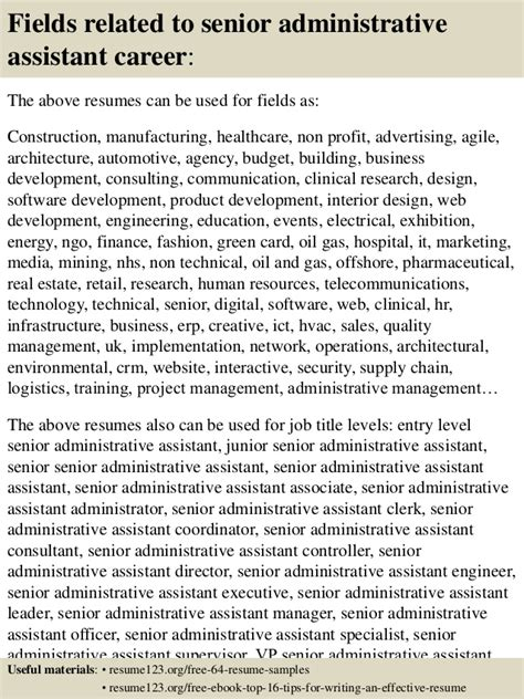 top 8 senior administrative assistant resume sles