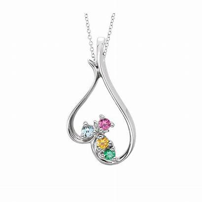 Birthstone Necklace Heart Mother Pendant Birthstones Sparkle