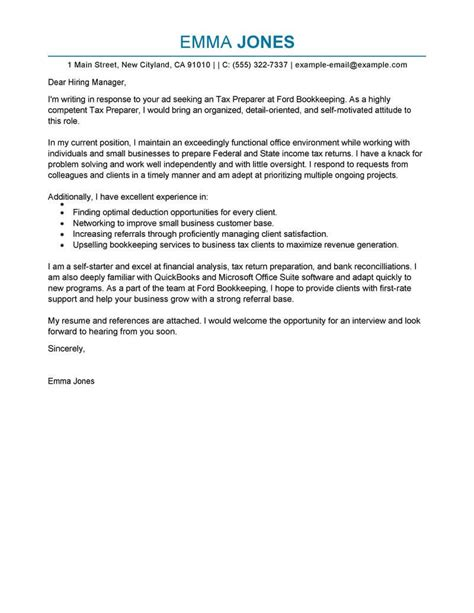 tax preparer cover letter examples livecareer