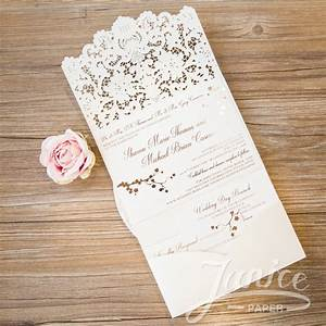 graceful tri fold laser cut pocket wholesale wedding invi With tri fold wedding invitations with pocket template