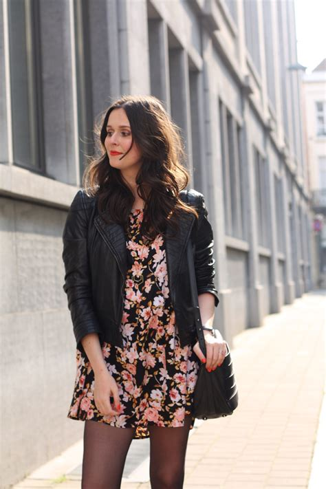 Outfit Leather Jacket Floral Babydoll And Motor Boots