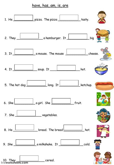 food interactive worksheet