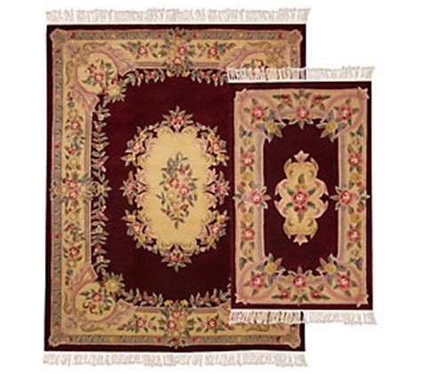 royal palace rugs royal palace antiqued 2pc aubusson wool rug set qvc