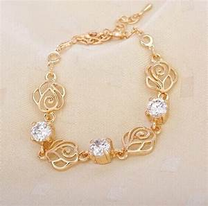 Exquisite Fashion Design Crystal Rose Flower Design Gold ...