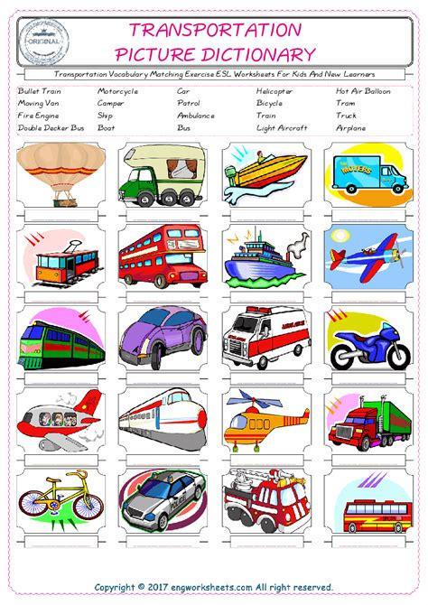 transport vocabulary worksheets the best and most