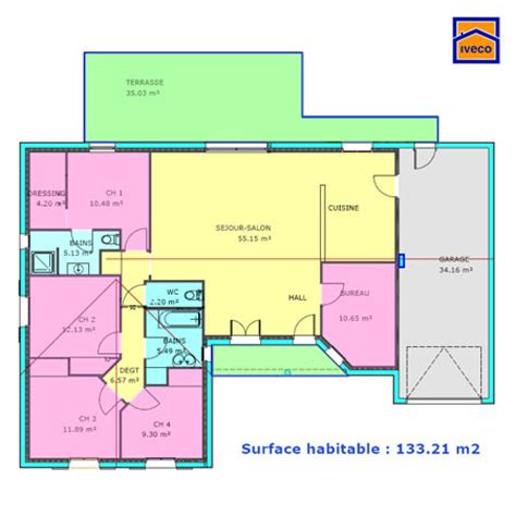 plan maison plain pied 3 chambres 1 bureau plan de maison individuelle plain pied