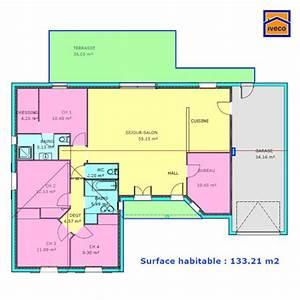 plan de maison individuelle plain pied With plan maison plain pied 3 chambres 1 bureau
