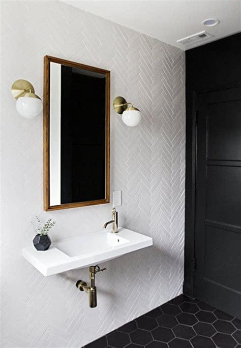 white herringbone wall tile black hexagon floor tile