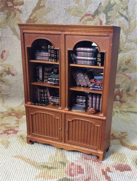 Bookcase China Cabinet by Bespaq Pat Dollhouse Miniature Filled Bookcase Shelf