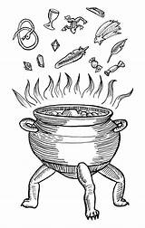 Pot Illustration Line Stew Vector Ink Halloween Grimoire Sliced Woodcut Vegetables Soup Medieval Dutch Cauldron Potions Potion Sketch Herbal Tumblr sketch template