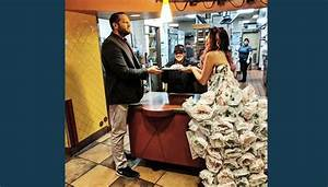 woman crafts wedding dress out of taco bell wrappers With taco bell wedding dress