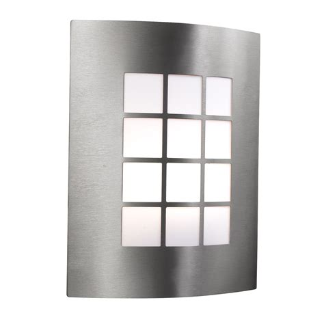 twin wall light diffusing polycarbonate panels stainless steel ip44 outdoor wall light with square opal