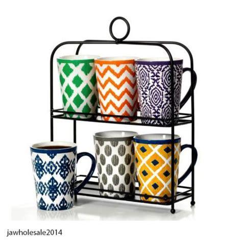 6 Piece Stoneware Coffee Tea Drink Mug Set with Stand 16 Oz Cups   Coffee & tea, Mugs set and Mugs