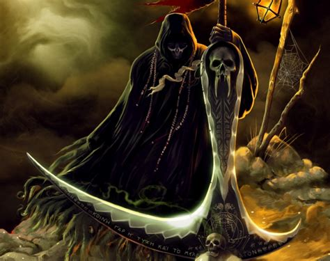 wallpaper grim reaper scythe underground dark skulls