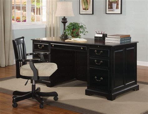black home office desk with hutch executive home office desks with black shine wooden home