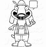 Dog Dachshund Lederhosen Cartoon Skinny Oktoberfest German Wearing Vector Talking Cory Thoman sketch template