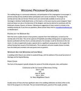 wedding reception program template sle wedding program template 9 documents in pdf