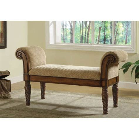 Settee With Arms by Coaster Furniture Beige Upholstered Bench With Rolled Arms