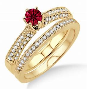 2 carat ruby diamond antique bridal set engagement ring With diamond and ruby wedding ring sets