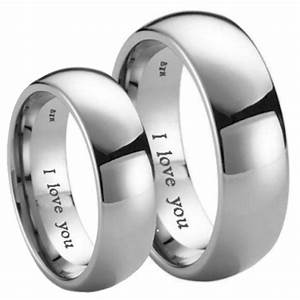 matching his hers i love you engraved titanium wedding With wedding rings bands of love