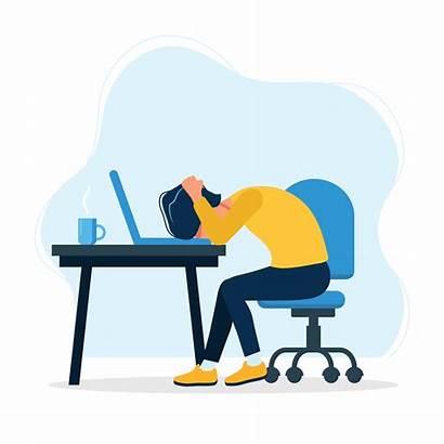 Worker Frustrated Office Mental Health Workers Cartoon