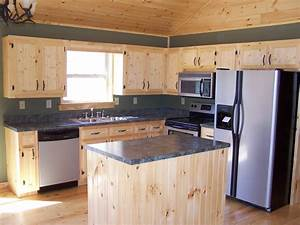 the placement of the pine wood furniture in the kitchen With kitchen cabinets lowes with natural wood art wall decor