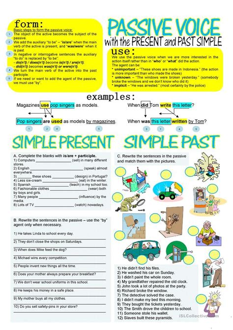 Passive Voice With Simple Present And Past Worksheet  Free Esl Printable Worksheets Made By