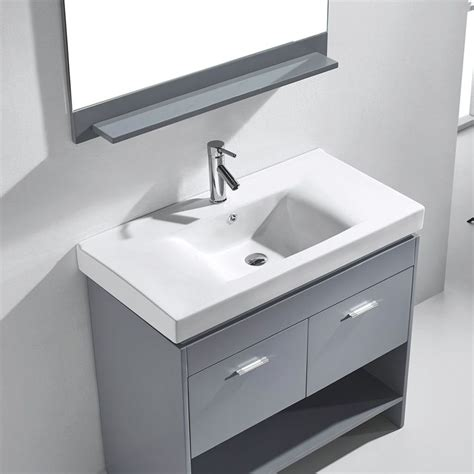 Square Sink by 36 Quot Gloria Single Bathroom Vanity In Grey With Integrated
