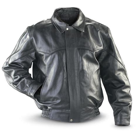 Cowhide Jackets by Roper 174 Cowhide Leather Bomber Jacket Black 178427
